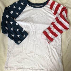 5/$25 Stars and Stripes 3/4 sleeve tee